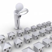 picture of row houses  - 3d person with magnifier looking at many houses in a row - JPG