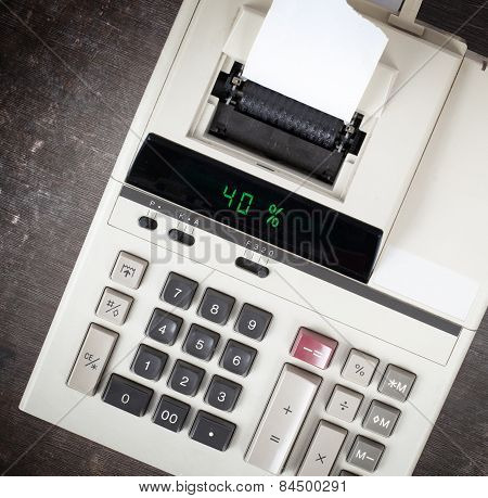 Old Calculator Showing A Percentage - 40 Percent