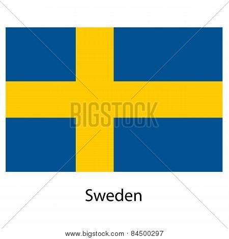 Flag  Of The Country  Sweden. Vector Illustration.