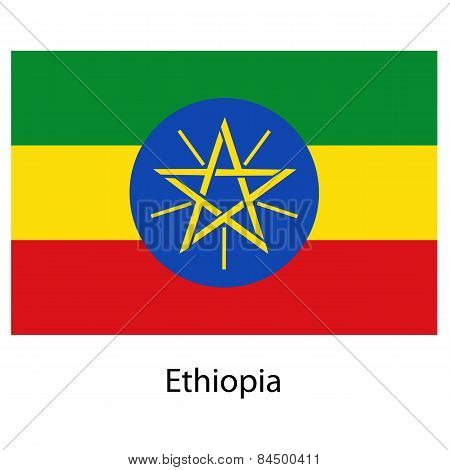 Flag  Of The Country  Ethiopia. Vector Illustration.