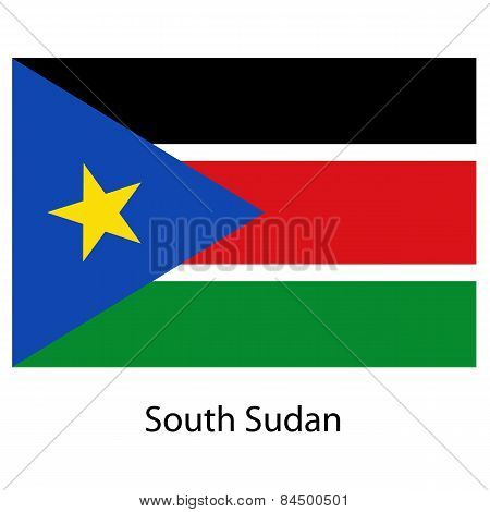 Flag  Of The Country  South Sudan. Vector Illustration.