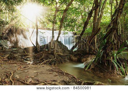 Waterfalls With Shining Sun Rays
