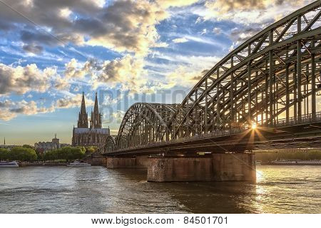 sunset at Cologne Germany