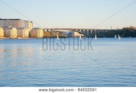 Traneberg bridge and sailboats