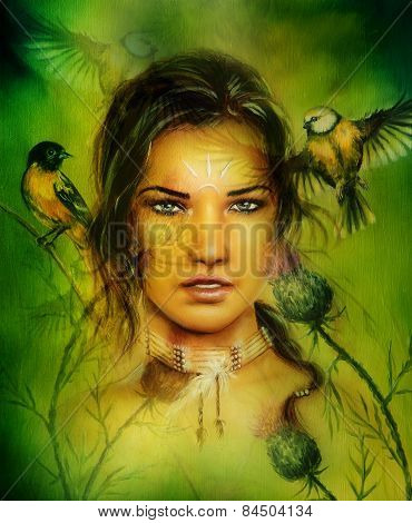 Portrait Of A Young Enchanting Woman Face With Birds, On Green Painting Illustration Background,eye