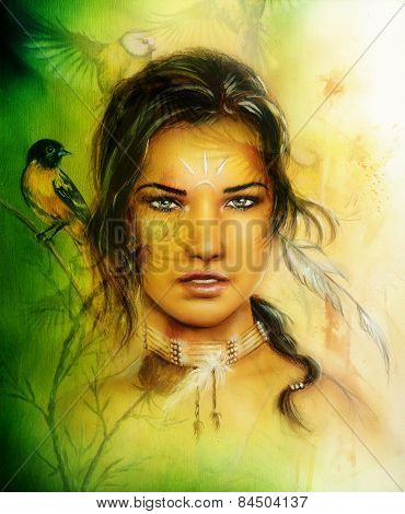 Illustration Painting Portrait Of A Young Enchanting Woman Face With Birds, On Yellow And  Green Pai
