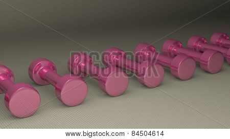Many Pink Glossy Dumbbells