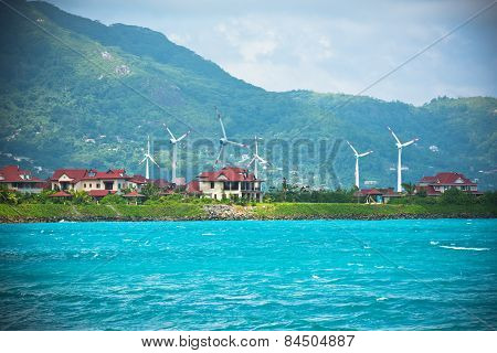 Wind Turbines Near Victoria Town, Seychelles