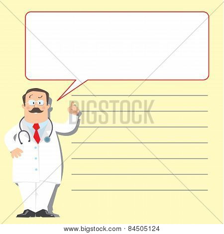 Design template with funny doctor