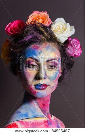 Creative, bright, color makeup