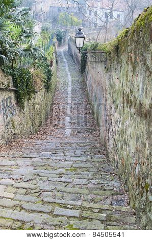 Downhill Road In The Medieval Town Of Monselice