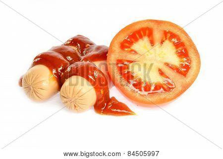 Sausage, Ketchup And Tomato