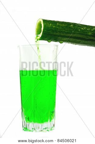 Cucumber Juice Is Poured Into A Glass