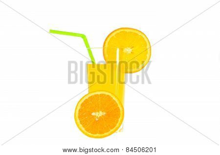 Glass Of Juice With Straw And Orange Slice