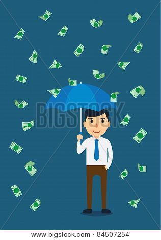 Businessman in a rain of money