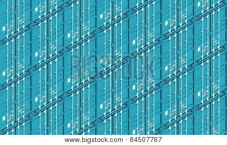 Blue Metal Freight Shipping Containers, 3D Illustration