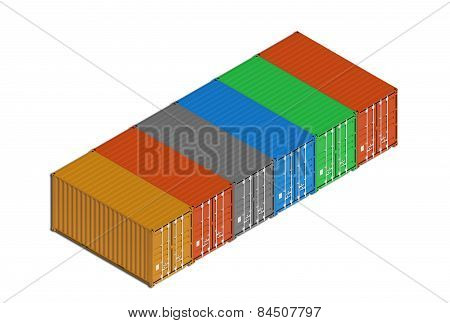 Colorful Metal Freight Shipping Containers In Line On White