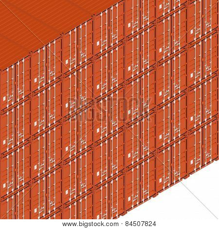 Shipping Containers, 3D Illustration, Isometric Projection