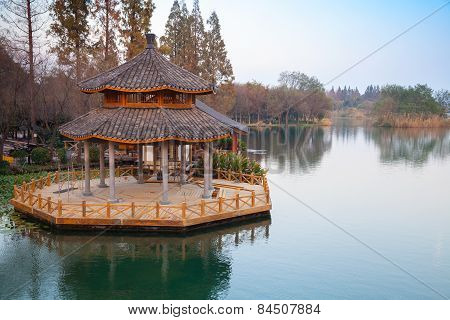Round Traditional Chinese Wooden Gazebo On The Coast