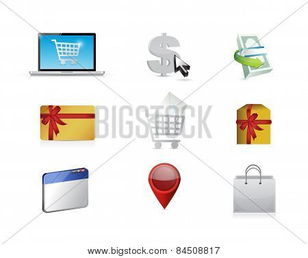Buy. Purchasing Concept Icon Set Illustration