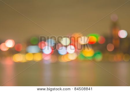 Cityscape lake view in twilight time, Blurred Photo bokeh
