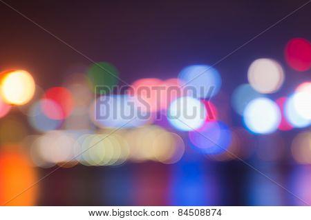 City night lights view, blurred bokeh background.