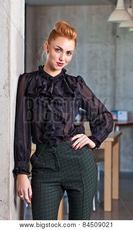 Young Beautiful Woman In  Black Blouse