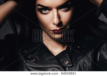 Sexy Woman In Jacket With Red Lips