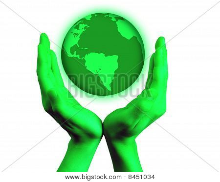 Green hands with world globe