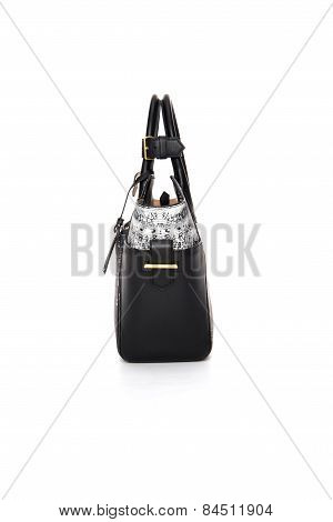 Female Black - White Bag On A White Background