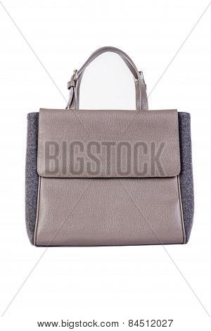 Leather Women  Handbag On A White Background