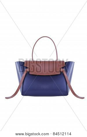 Blue Clutch Handbag On A White Background