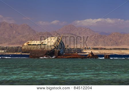 Rusty Ship Off The Coast Of Egypt.