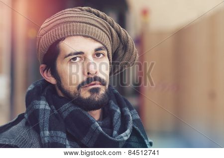 Portrait Of Young Hipster Bearded Man Warm Tones Filter Applied