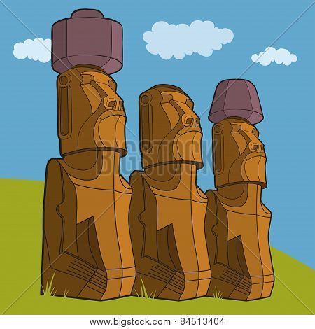 Sculptures Of Easter Island Rapa Nui
