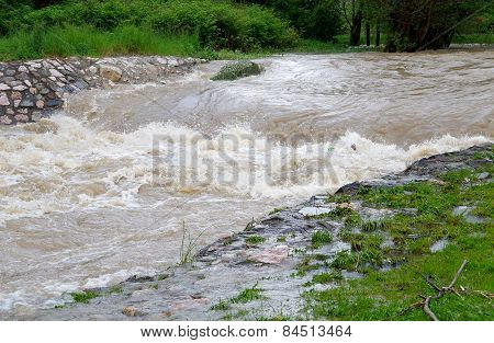 A Strong Stream Of Water After Heavy Rains.