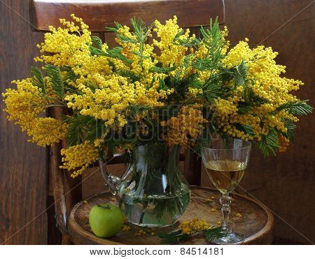 Still-life With Wine And A Mimosa Bouquet