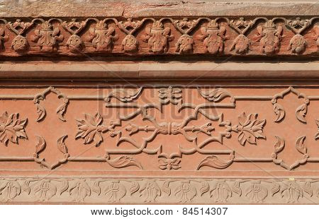 Carved Panel From Red Sandstone Of Diwan I Am In Red Agra Fort