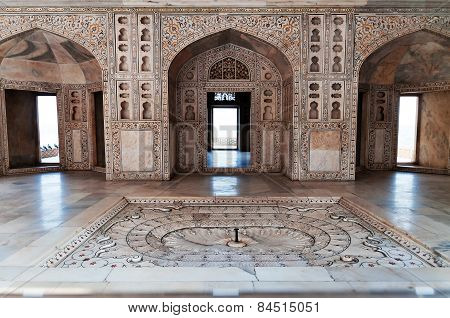 Interior Of The Musamman Burj In Red Agra Fort