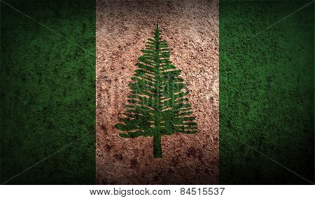 Flag Of Norfolk Island With Old Texture. Vector