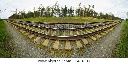 Wide-angle Panoramic Photo Of Railroad Tracks