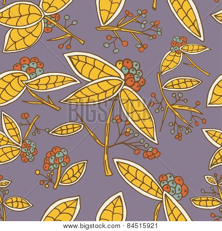 Cranberry Vector Pattern With Leaves And Berries.