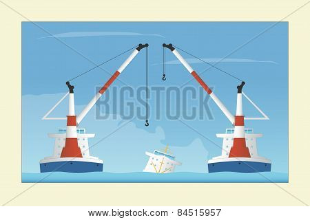 Two Floating Cranes And Sunken Vessel. Salvage Operation.