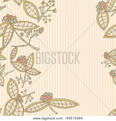 Cranberry Vector Border Pattern With Leaves And Berries.