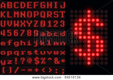 Red Dotted Led Display Letter Set