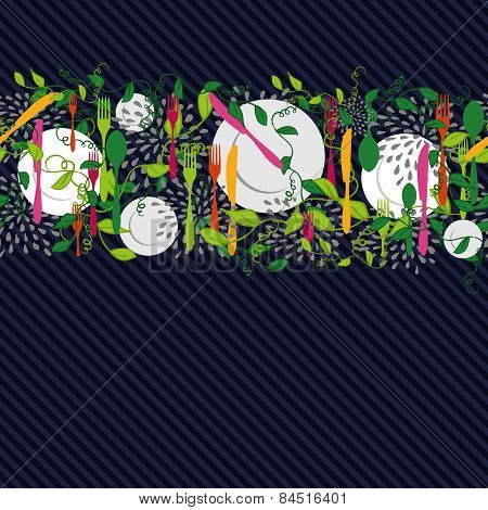 Kitchen Food Elements Seamless Pattern