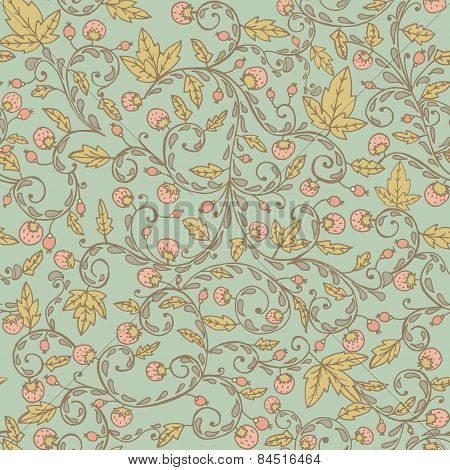 Strawberry Pattern. Seamless Texture With Strawberries And Leaves