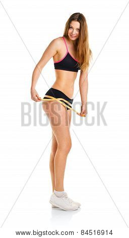 Athletic Woman Measuring Perfect Shape Of Beautiful Thigh
