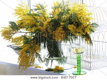 Still-life With Wine And A Bouquet From Mimosa Branches