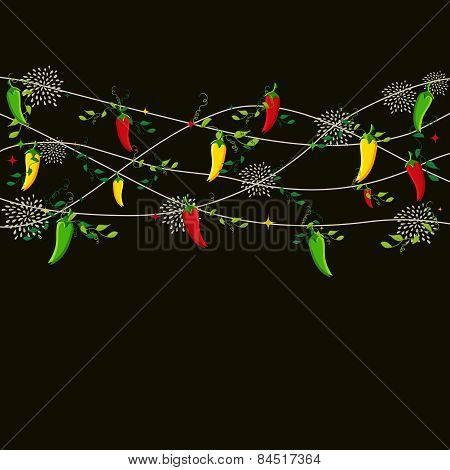 Mexican Food Chili Pepper Seamless Pattern